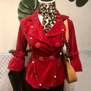 Mac and Jac red velvet 3/4 sleeve jacket size 2